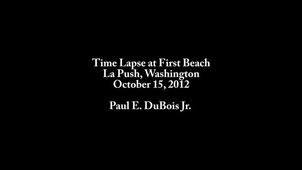 This short time lapse was taken on October 15, 2012 at First Beach in La Push, Washington. La Push is famous for its role as the location of the Twilight Series books and movies. As this video illustrates, this beach is part of a rugged and unpredictable Northwest coastline.