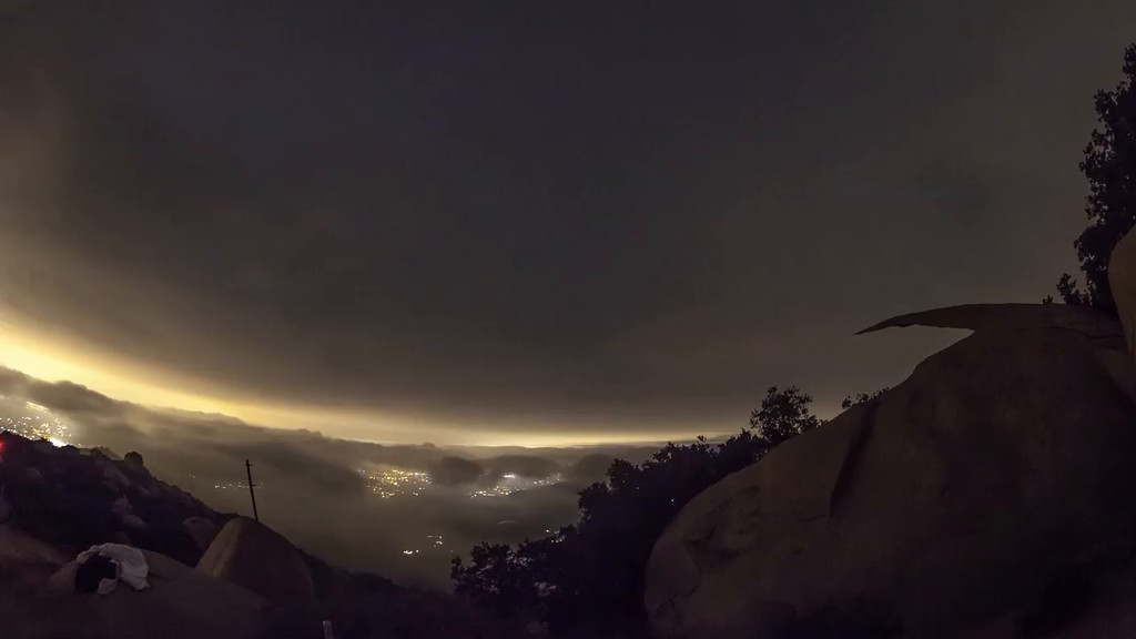 Clouds over Potato Chip Rock in time lapse