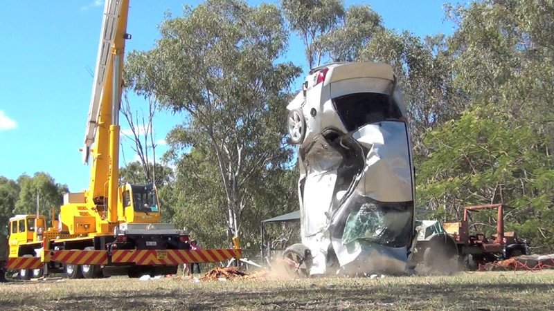 This is a new Holden Commordore being dropped from a crane , speed when it hits is around 95 to 100klm's per hour, the vehicle has sustained some damage prior by being dropped on its side.