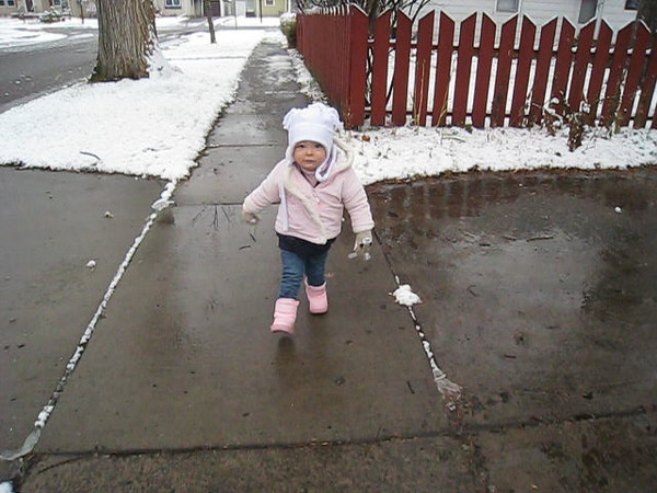 Eve out walking on the first real snowy day of the year, November 12, 2008