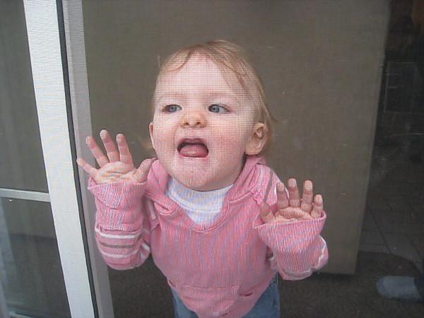 Lillian kisses Eve through the screen door.<br /> November 12, 2008
