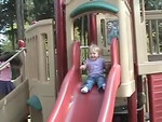 Alyssa is actually pretty brave when it comes to going down the slide on her own. In this clip I don't think she knows when she is going to start sliding. I think she is more interested in the fact that people are watching her.