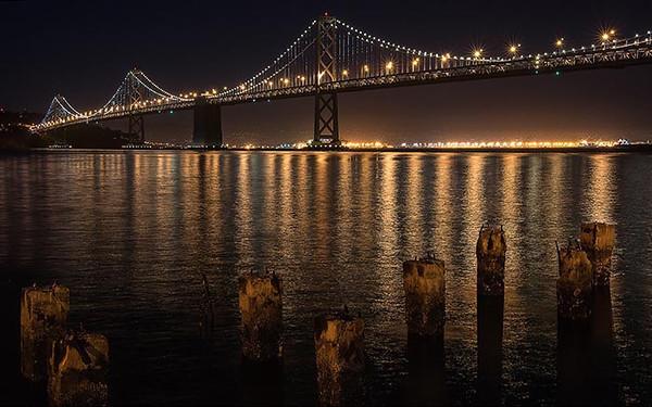 San Francisco Bay Bridge LED lights 6/9/2013