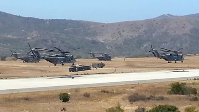 CH-53's getting ready for an Air Assault