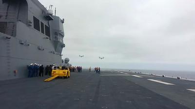Marine MV-22 osprey landing on Japanese Naval vessel Hyuga