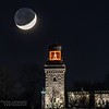 A Timelapse Video Of The Crescent Moon With Earthshine Setting Behind The Christmas Decorated Twin Lights Lighthouse 12/18/20