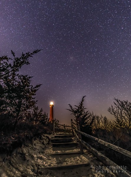 Star Trails Over The Pathway To The Barnegat Lighthouse 2/10/19