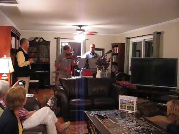 2013 Henegar reunion - Alan Easterling on guitar and his son, Kyle, on violin, entertaining the family