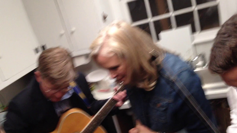 impromtu jam session in the kitchen at The Grange, following the 2014 Acoustic Weston concert.  Sue, Maggie and Nancy Burger harmonizing, Cole Smith on violin, Scott Weber on guitar
