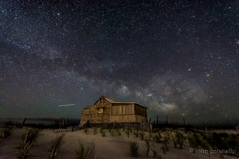 Timelapse Movie of the Milky Way Rising Over The Judge's Shack in Island Beach State Park