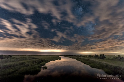 Timelapse of Clouds, Stars and Fireflies Over Marshlands 6/26/17