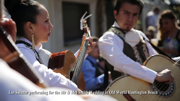 Los Salazar Mariachi Band playing Mr & Mrs Smith Wedding at Old World Huntington Beach