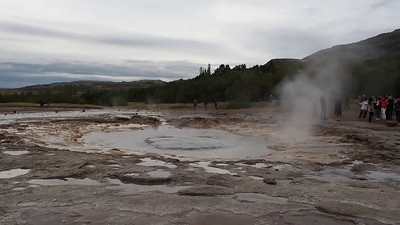 Strokkur geyser and Gullfoss waterfall in Iceland