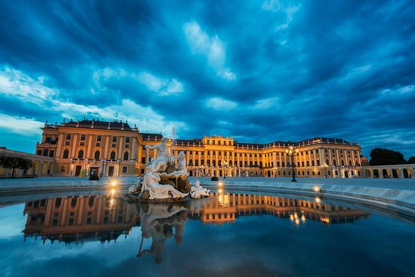 Blue hour reflection of Schönbrunn palace