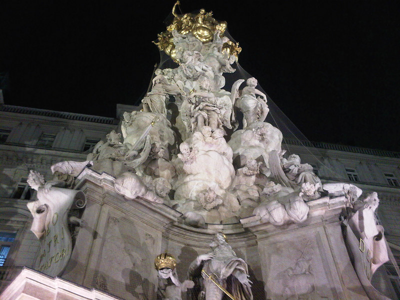 Close up of the statue at night
