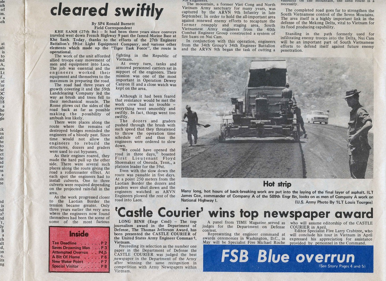"Front page of the April 5, 1971, edition of the ""Castle Courier"" newspaper announces the international award the newspaper received."