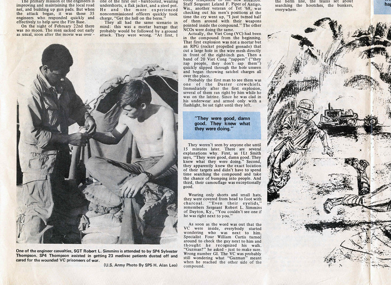 "SP5 Albert Gore, Jr., recounts the events of a battle at Fire Support Base Blue in an article for the ""Castle Courier"" Engineer Command Newspaper on April 5, 1971.  Edited at newspaper offices at US Military Assistance Command Vietnam near Long Binh.  Drawing by SP4 William Smith, photos by SP5 H. Alan Leo.  © 1971, MJ Roche."