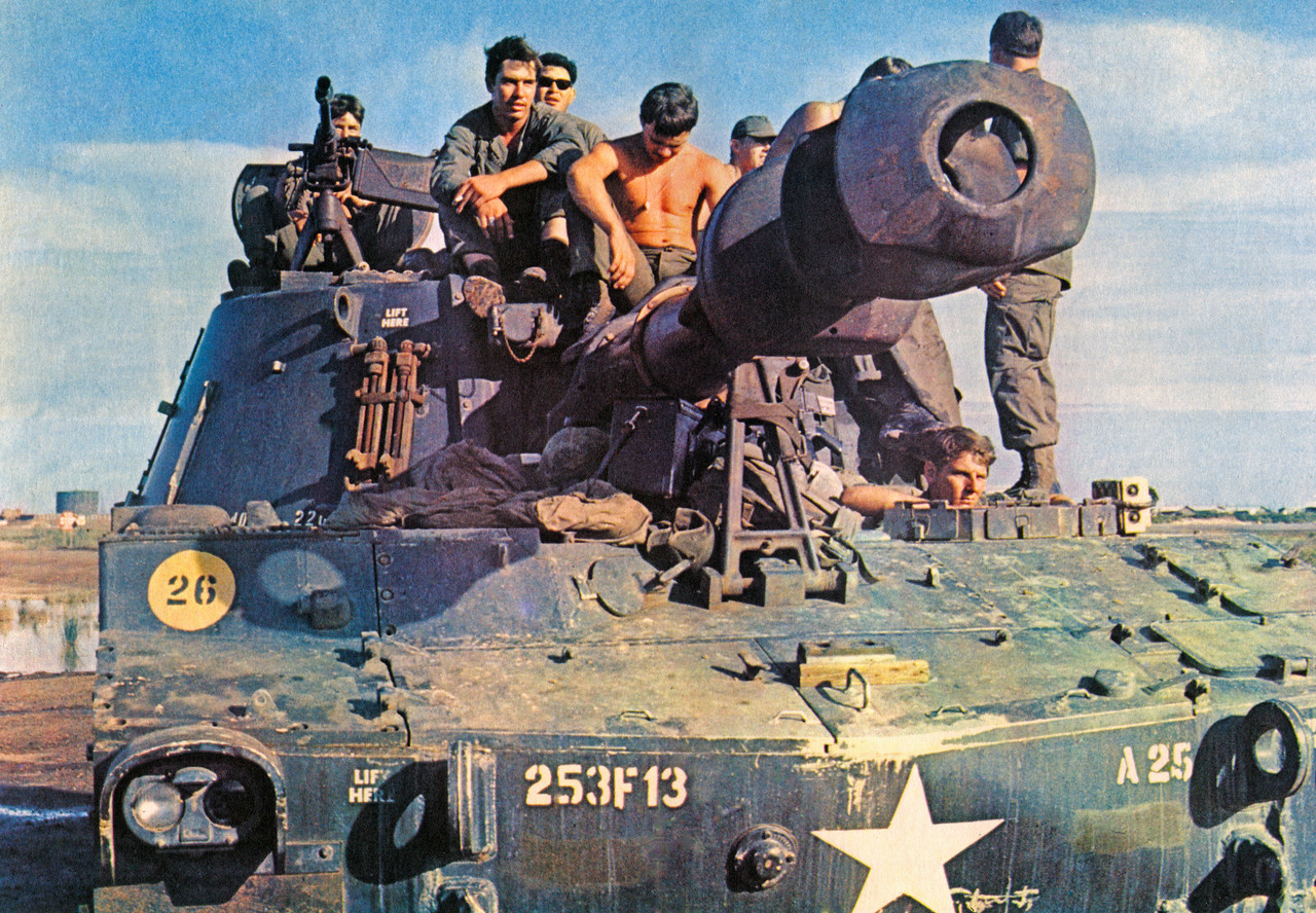 A 155mm Howitzer from the 3/13th Field Artillery of the 25th Infantry Division at their basecamp at Cu Chi.  The battalion had three 155mm self-propelled (track mounted) companies and one self-propelled 8-inch gun company.  Photo, 25th Inf. Div.
