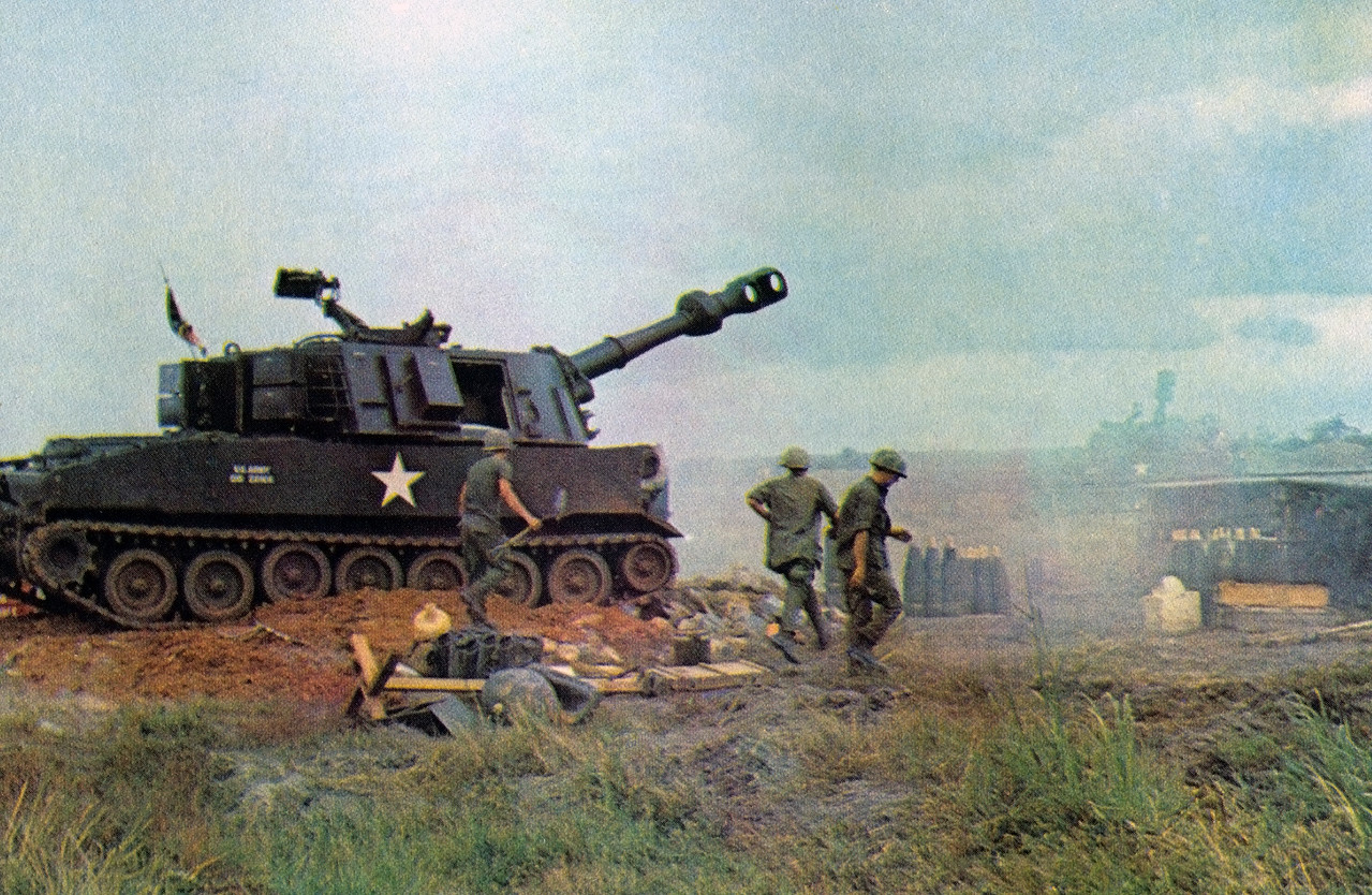 A 155mm Howitzer from the 3/13th Field Artillery of the 25th Infantry Division at a Fire Support Base.  Photo, 25th Inf. Div.