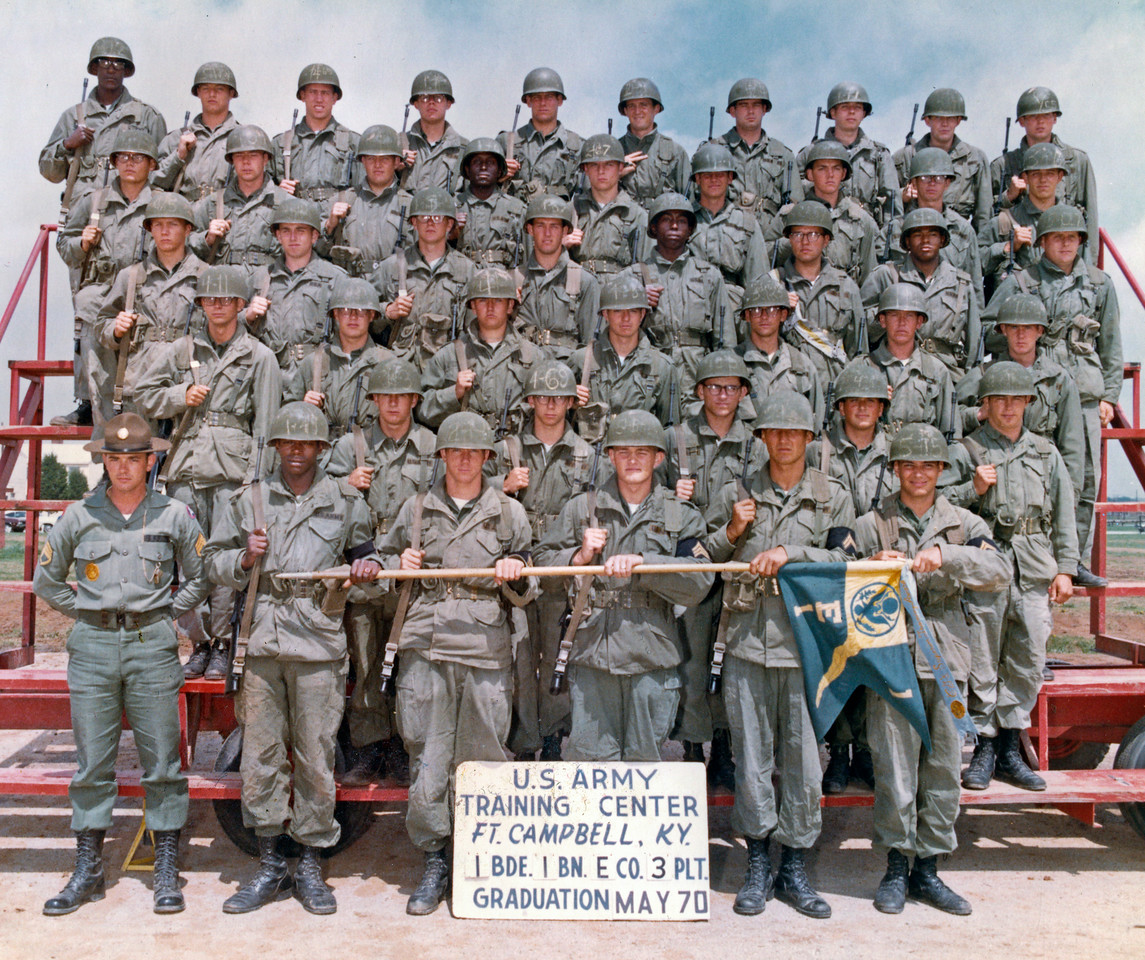 Basic training company at Ft. Campbell, KY.  Dan Potter, center front, was the platoon guide.  The squad leaders were Joe Putnam,  Tom Morgan, Chet Morawski, and myself.  Drill Sergeant was Robert (Dick) Kohlman.  Since the war was fairly docile in late 1970, there is a good chance that most of these guys made it home in 1971.