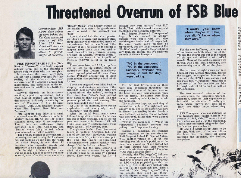 """SP5 Albert Gore, Jr., recounts the events of a battle at Fire Support Base Blue in an article for the """"Castle Courier"""" Engineer Command Newspaper on April 5, 1971.  Edited at newspaper offices at US Military Assistance Command Vietnam near Long Binh.  Drawing by SP4 William Smith, photos by SP5 H. Alan Leo.  Gore would later serve as a Congressman, Senator and Vice President of the US under Bill Clinton.  He was awarded the 2007 Nobel Peace Prize and won a 2007 Oscar for his documentary film addressing global warming (""""An Inconvenient Truth"""")."""