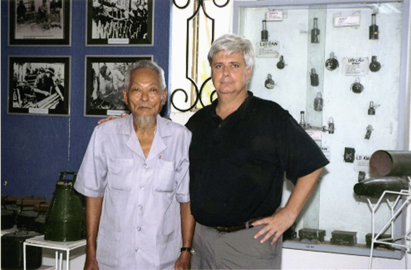 Former enemies meet in a Weapons Museum in Saigon in October, 2001.  During a two-hour interview, which was guided by an interpreter from Anh Tours of Saigon, this former officer discussed how he was in the area when a rocket was fired into Cu Chi only days after I arrived at the 25th Infantry Division Headquarters.  He was 92 years old in this photo.