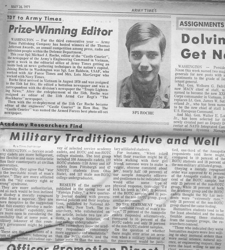 Army Times article. I work work at their news office and always had to leave early.  It was boring, but better than sitting in Long Binh.