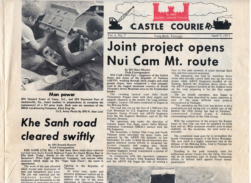"Inside this edition, SP5 Albert Gore, Jr., recounts the events of a battle at Fire Support Base Blue in an article for the ""Castle Courier"" Engineer Command Newspaper on April 5, 1971.  Edited at our newspaper offices , US Military Assistance Command Vietnam (MACV) near Ton San Nhut airfiled.  Drawing by SP4 William Smith, photos by SP5 H. Alan Leo."