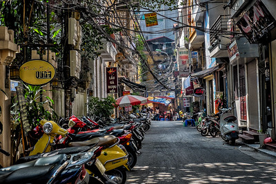 Motorbikes and hanging electrical wires--Hanoi, Viet Nam