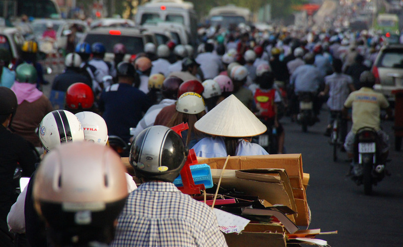 "Today's featured daily travel image is of a hectic traffic scene in Saigon (Ho Chi Minh City), Vietnam which at times looks like a sea of scooters:<br /> <a href=""http://nomadicsamuel.com/photo-blog/extreme-traffic-in-ho-chi-minh-city-vietnam"">http://nomadicsamuel.com/photo-blog/extreme-traffic-in-ho-chi-minh-city-vietnam</a>"