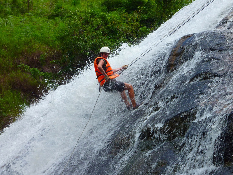 Elise going down the waterfall
