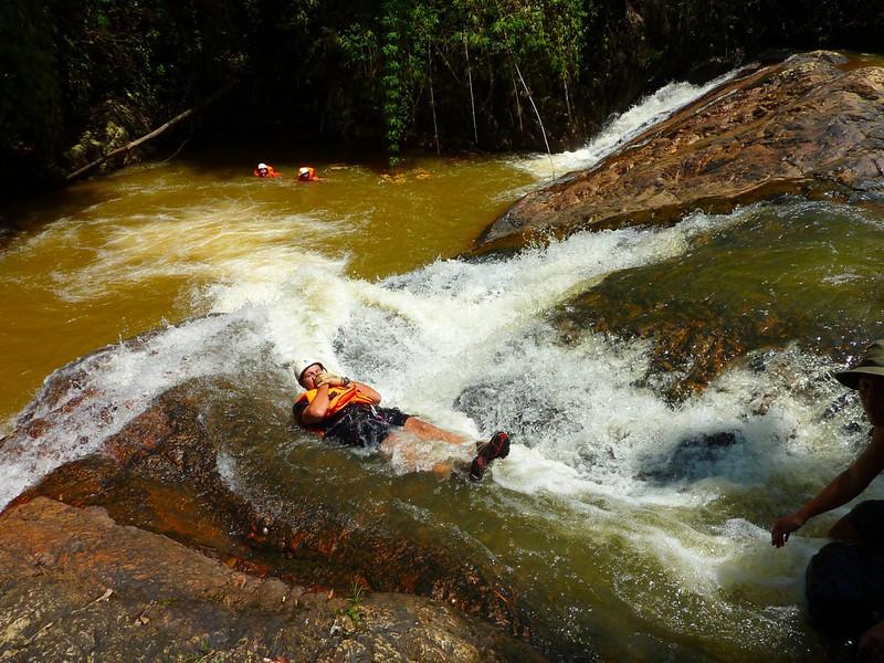 sliding down the rapids