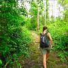Elise walking to the waterfall