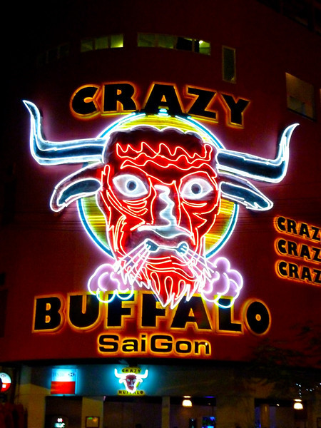 crazy buffalo bar in the centre of the backpacker district in Ho Chi Minh