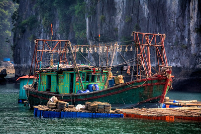 Square Head Fishing Boat, Halong Bay, Vietnam