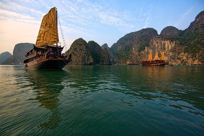 Junks, Halong Bay, Vietnam