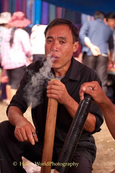 Smoking at the Bac Ha Market