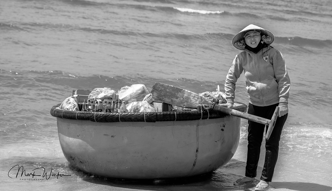 Woman Selling Refreshments from Tub, Phan Thiet