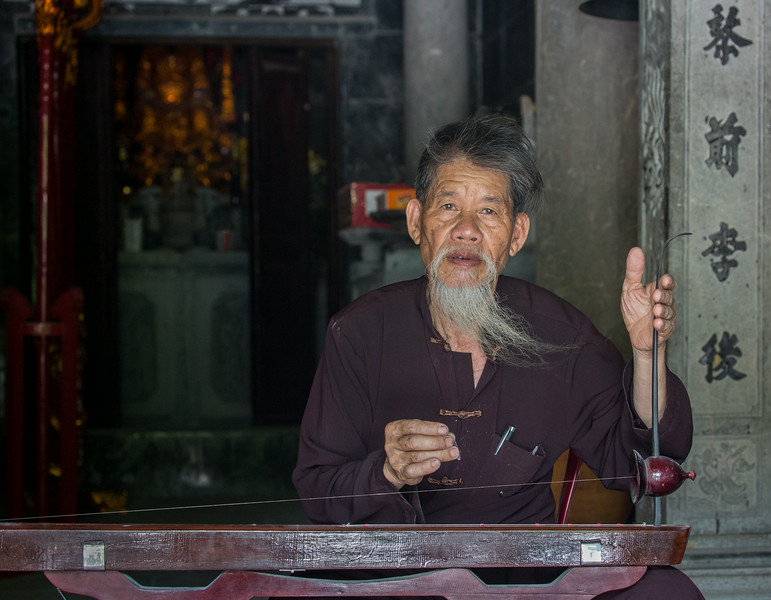 Tam Coc, Ninh Binh, Vietnam: the head monk of the Thai Vi temple, which is set in the midst of rice fields near Tam Coc.