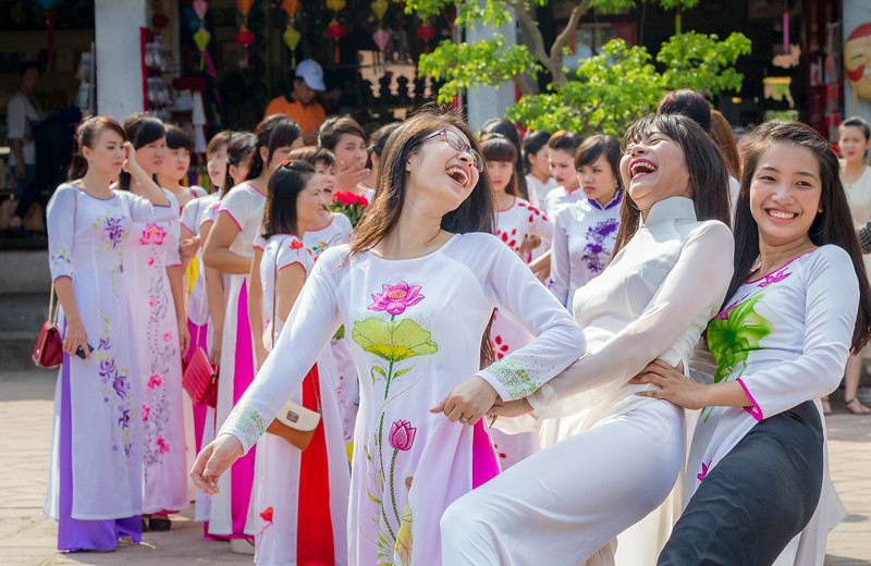 Temple of Literature, Hanoi, Vietnam: some of the dozens of young women in traditional ao dais (teachers in local schools) visiting on this day.
