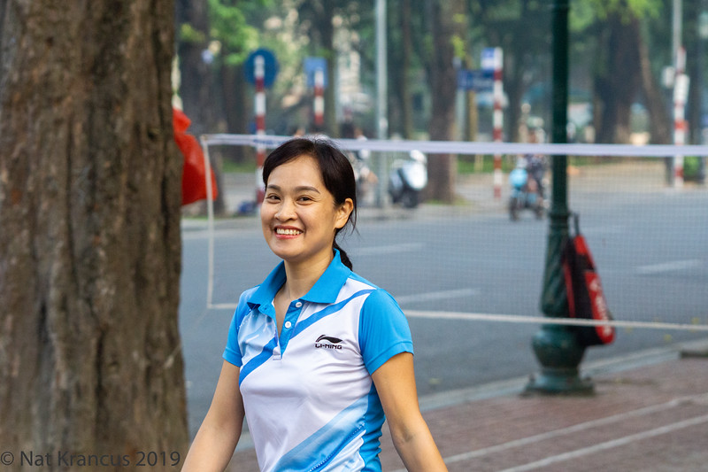 Man Playing Badminton in the Park, Hanoi