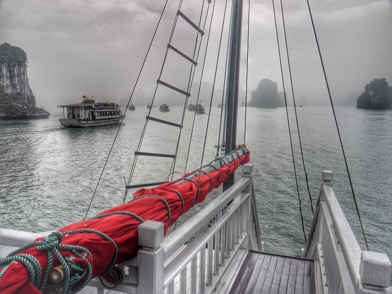Our group of 22 Americans and Canadians chartered a tour boat in Halong Bay, Vietnam