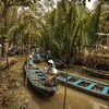 Sampans for tourists on an island in the Mekong Delta, Vietnam