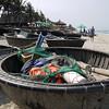 Round boats on beach near Hoi An