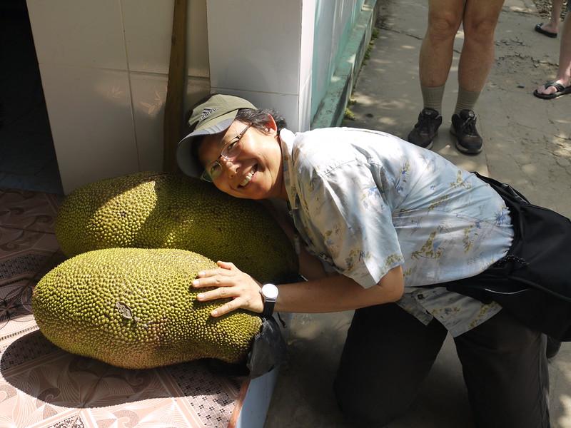 Nok and the jackfruit.