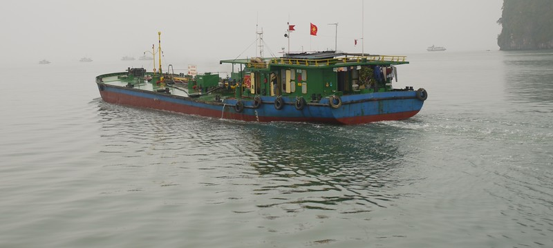 This was the only ship we saw that was neither for tourists nor for selling fruit.  Halong Bay