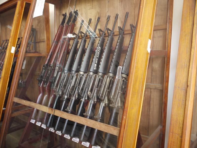 Captured American weapons at Cu Chi (near Ho Chi Minh City [Saigon])