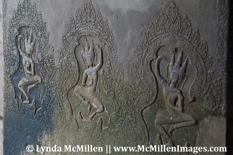Asparas in bas-relief. In Hinduism an aspara is a nymph with divine power