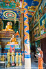 Colorful interior of Buddhist temple.
