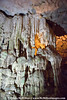 Stalagtites formed from dripping limestone in Hang Sung Sot caves.